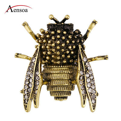 New Vintage Alloy Crystal Rhinestone Bee Insect Brooch Pin for Women Men Jewelry
