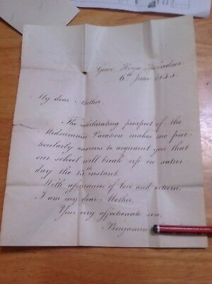 Grove House Winsor 1835 Letter To Mother