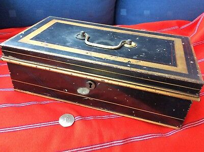 Large Vintage Cash/deeds Box Early 1900s Steel made in England