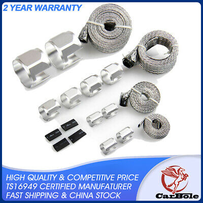 CarBole Universal Stainless Steel Braided Dress-Up Hose Cover Kit (Silver) New