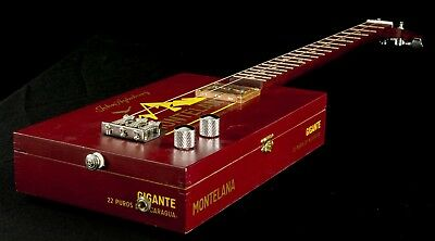 Cigar Box Guitar 3-Saiter, mag. Flat-Pickup, original Cigar Box