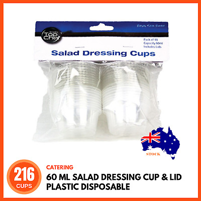 216 x 60ml MEDIUM SALAD DRESSING CUPS Plastic Sauce Containers Disposable Cup