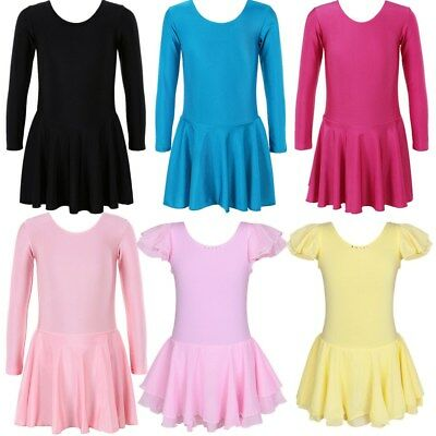 3-14Y Gymnastic Leotard Dress for Girl Ballet Dancewear Tutu Skirt Black Pink