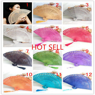 Wedding Hand Fragrant Party Carved Bamboo Folding Fan Chinese Style Wooden 2018
