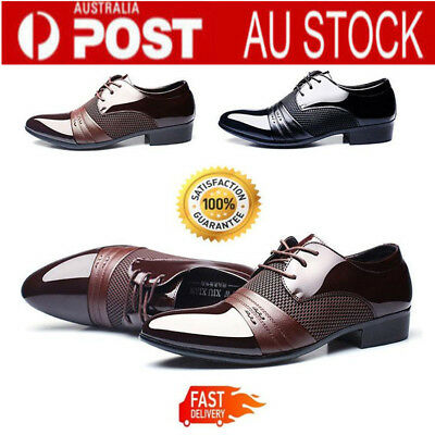 Men's Leather Formal Office Work Smart Shoes Casual Pointed Toe Wedding Shoes