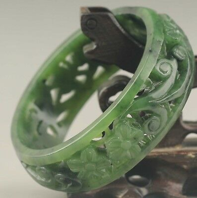 China natural hetian green jade bangle hand carved hollowed out flower Bracelet