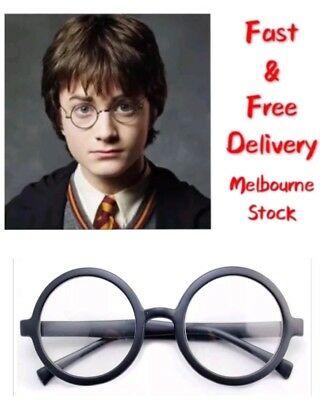 Harry Potter Black Round Frame Glasses Spectacles Hogwarts Wizard Cosplay Party