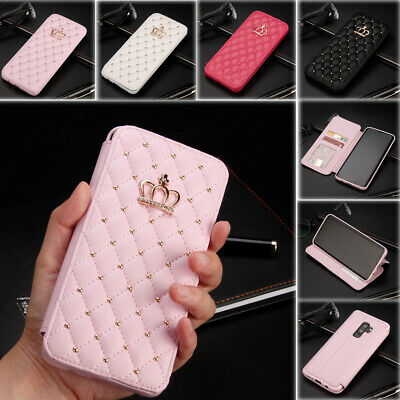 Bling Diamond Case PU Leather Stand Cover for Samsung S10 S6 S7 Edge S8 S9 Plus