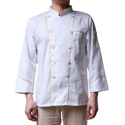 Unisex Long Sleeve Chef Coat Jacket Restaurant Hotel Cook Clothes Uniforms FW
