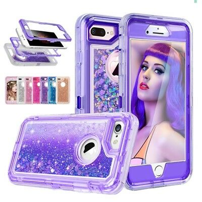 For iPhone 8 7 Plus 6 Glitter Quicksand Flowing Liquid Full-Body Protective Case