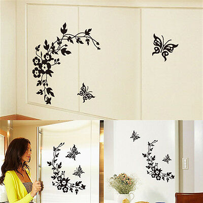 Butterfly Flower Bathroom Toilet Laptop Walls Decals Stickers Home Decor NP