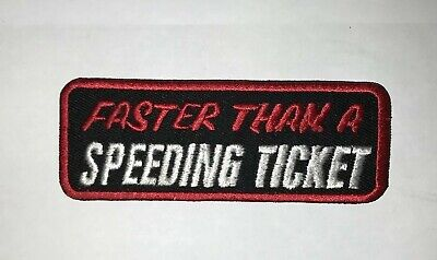 Speeding Ticket Embroidered Badge Iron On / Sew On Clothes Jacket Jeans N-448