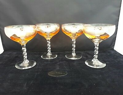 STYLISH ART DECO AMBER COLOURED CHAMPAGNE SAUCERS/COUPES Set of 4 VINTAGE (G7)
