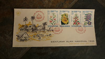 Old Indonesia Stamp Issue Fdc, 1966 Bentjana Alam Nasional Set Of 4 Flower Stamp