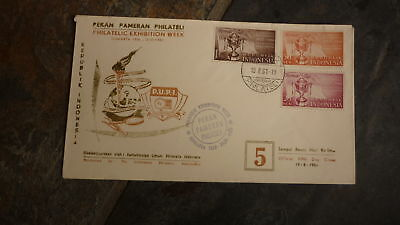 Old Indonesia Stamp Issue Fdc, 1961 Philatelic Exhibtion Week Set Of 3 Stamps 3