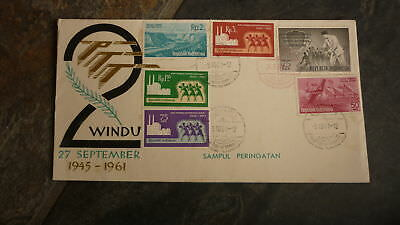 Old Indonesia Stamp Issue Fdc, 1961 Ptt Windu 2 Set Of 6 Stamps