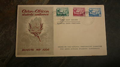 Old Indonesia Stamp Issue Fdc, 1956 Asian African Students Conference Set Of 3