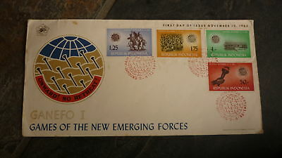 Old Indonesia Stamp Issue Fdc, 1963 Games Of Emerging Forces Set Of 4 Stamps 2