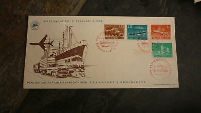 Old Indonesia Stamp Issue Fdc, 1964 Transportation Set Of 4 Stamps