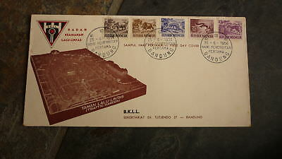 Old Indonesia Stamp Issue Fdc, 1956 Hari Pertama Animals Set Of 5 Stamps