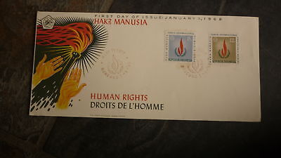 Old Indonesia Stamp Issue Fdc, 1968 Human Rights Set Of 2 Stamps