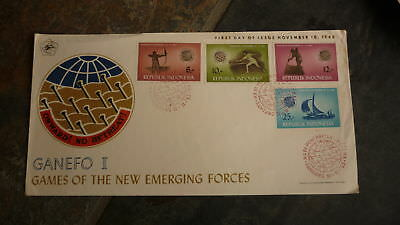 Old Indonesia Stamp Issue Fdc, 1963 Games Of Emerging Forces Set Of 4 Stamps 1