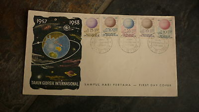 Old Indonesia Stamp Issue Fdc, 1958 Geophysical Year Set Of 5 Stamps