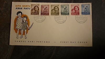 Old Indonesia Stamp Issue Fdc, 1958 Anak Piatu Set Of 6 Stamps