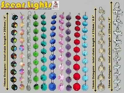 Chandelier Droplets Beads Cut Glass Crystals Drops 1M Garland Crafts Decorations