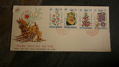 Old Indonesia Stamp Issue Fdc, 1966 Hari Sosial, Set Of 4 Wildflower Stamps 1