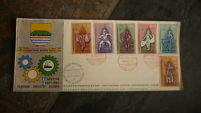 Old Indonesia Stamp Issue Fdc, 1962 Industrial Fair Set Of 6 Stamps