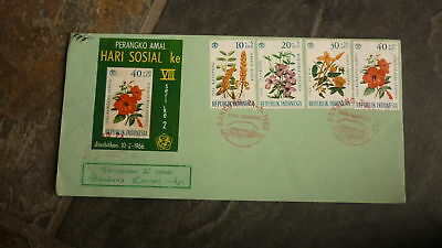 Old Indonesia Stamp Issue Fdc, 1966 Hari Sosial, Set Of 4 Wildflower Stamps 2