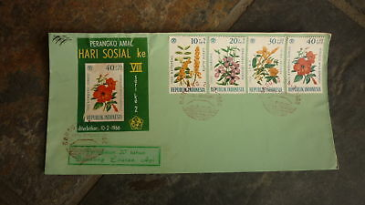 Old Indonesia Stamp Issue Fdc, 1966 Set Of 4 Wildflower Stamps