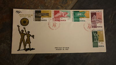 Old Indonesia Stamp Issue Fdc, 1962 Asian Games Set Of 5 Stamps