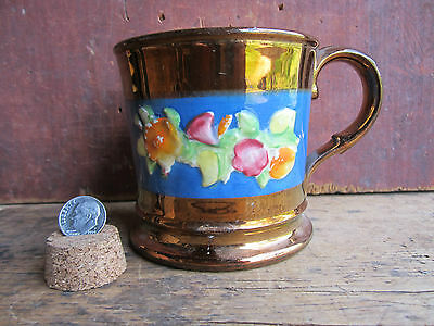 Antique English Staffordshire Copper Lustre Mug Cup Color Relief Decorated 1825