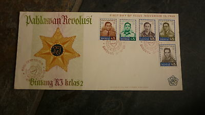Old Indonesia Stamp Issue Fdc, 1966 Pahlawan Revolusi Set Of 5 Stamps 1