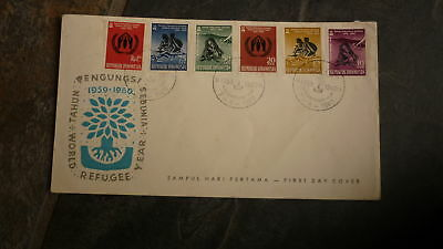 Old Indonesia Stamp Issue Fdc, 1960 Year Of The Refugee Set Of 6 Stamps
