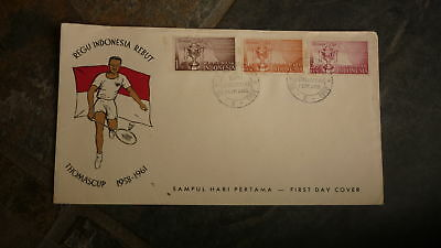 Old Indonesia Stamp Issue Fdc, 1961 Thomas Cup Badminton Event Set Of 3 Stamps 1