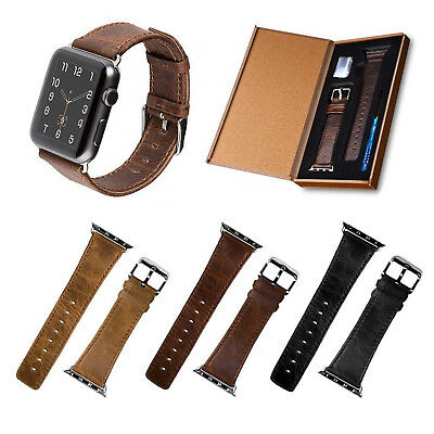 Vintage Genuine Leather Wrist Band Strap For Apple Watch iWatch 1/2/3 38/42mm