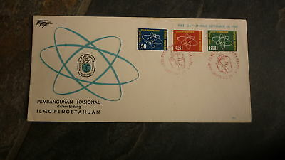 Old Indonesia Stamp Issue Fdc, 1962 Front Ilmiah Dalam Pembangunan Set Of 3