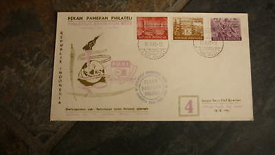 Old Indonesia Stamp Issue Fdc, 1961 Philatelic Exhibtion Week Set Of 3 Stamps 2
