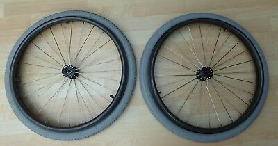 Pair of Sun Metal  20 inch wheelchair wheels C/W anodised push rims and tyres.