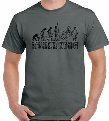 Father And Son - Football Evolution - Mens Funny T-Shirt Father's Day Dad Daddy