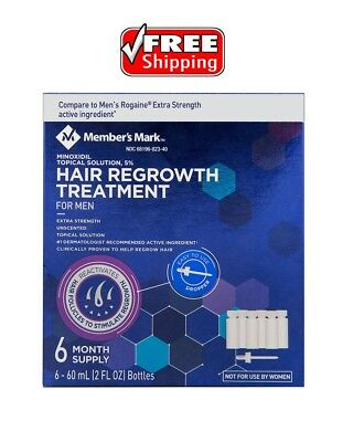 Minoxidil 5% Extra Strength Men Hair Regrowth Solution 6 Month Supply FREE SHIP