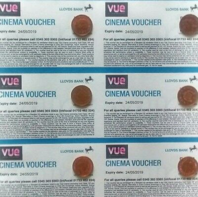 Six Vue cinema tickets, valid for 12 months, only £6 each!