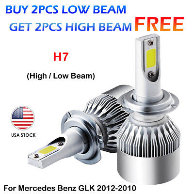 Combo CREE H7 LED Headlight Kit Bulbs For Mercedes Benz GLK 2012-2010 Hi/Lo Beam