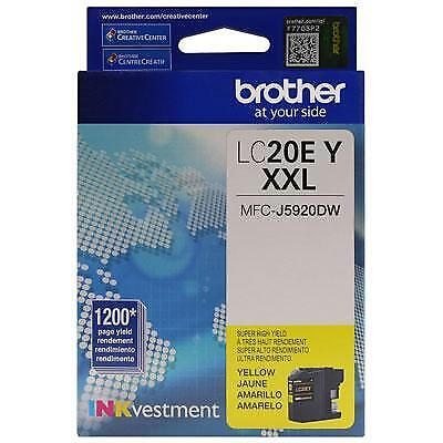 Brother LC20EY INKvestment 1200 Page Super High-Yield Yellow Ink Cartridge