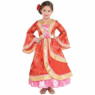 Kids Girls Deluxe Oriential Princess Chinese Japanese Geisha Fancy Dress Costume