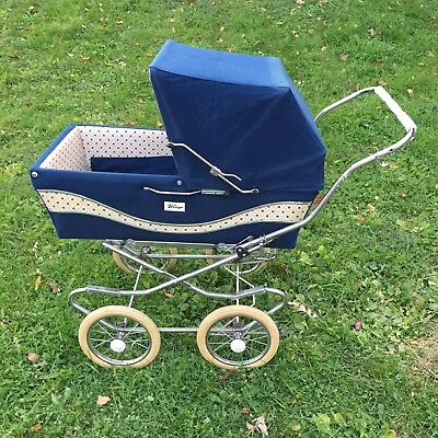 Vintage Italian  Perego  Baby Stroller Carriage-Navy Blue-Made in Italy, Buggy