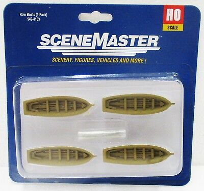 HO Scale Walthers SceneMaster 949-4163 White Row Boat 4-Pack